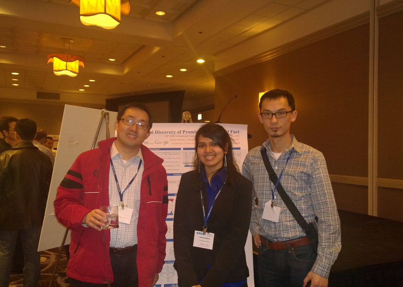 With collaborator Cong Yu (Google) at ICDE14 (Apr. 2014)