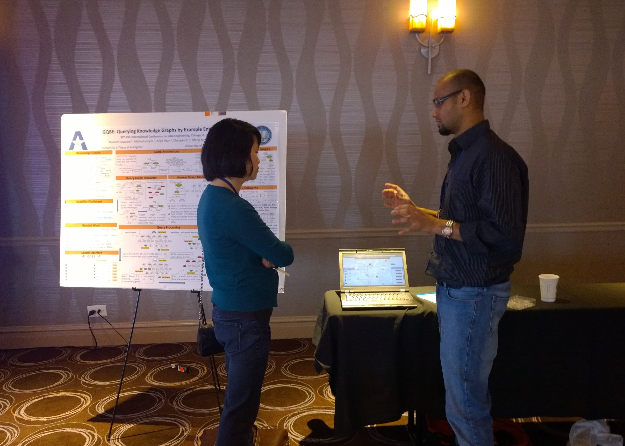 Nandish explaining GQBE demo at ICDE14 (Apr. 2014)
