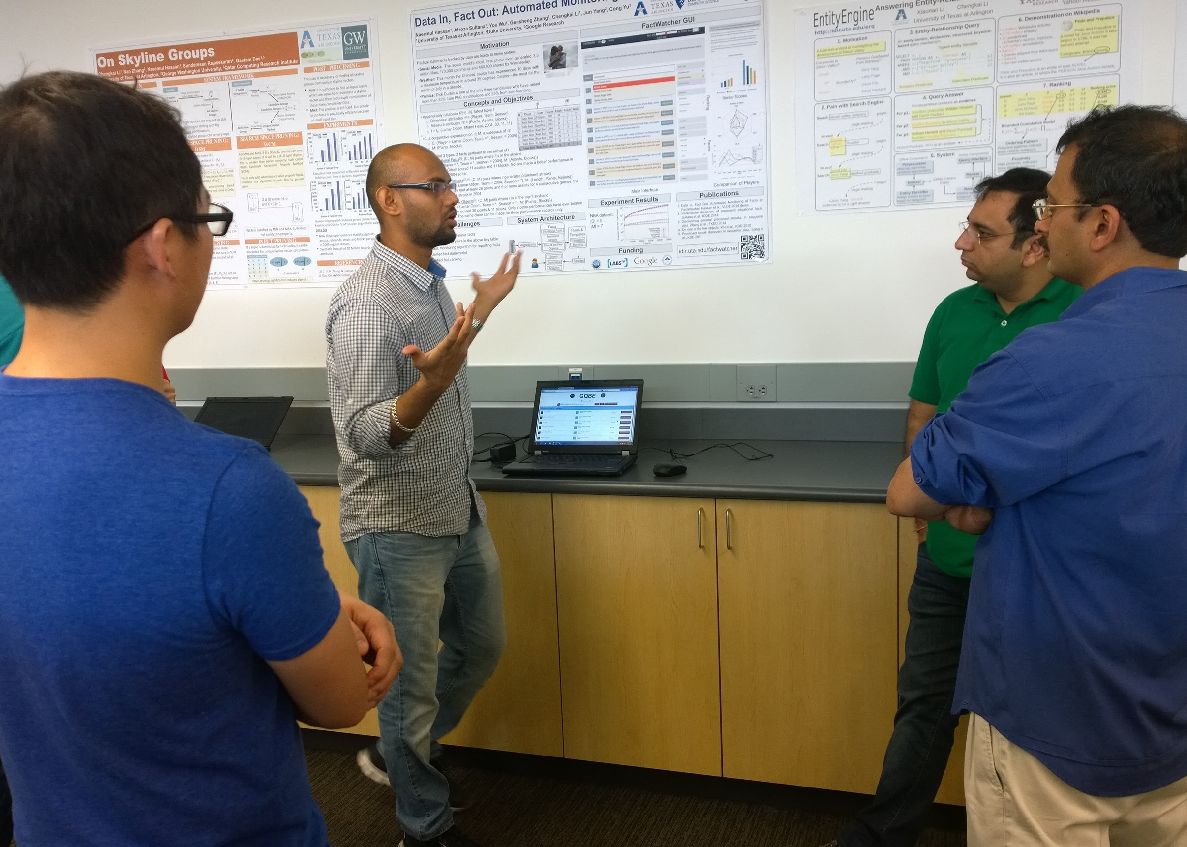 Nandish explaining projects to visitors (Sept. 2014)