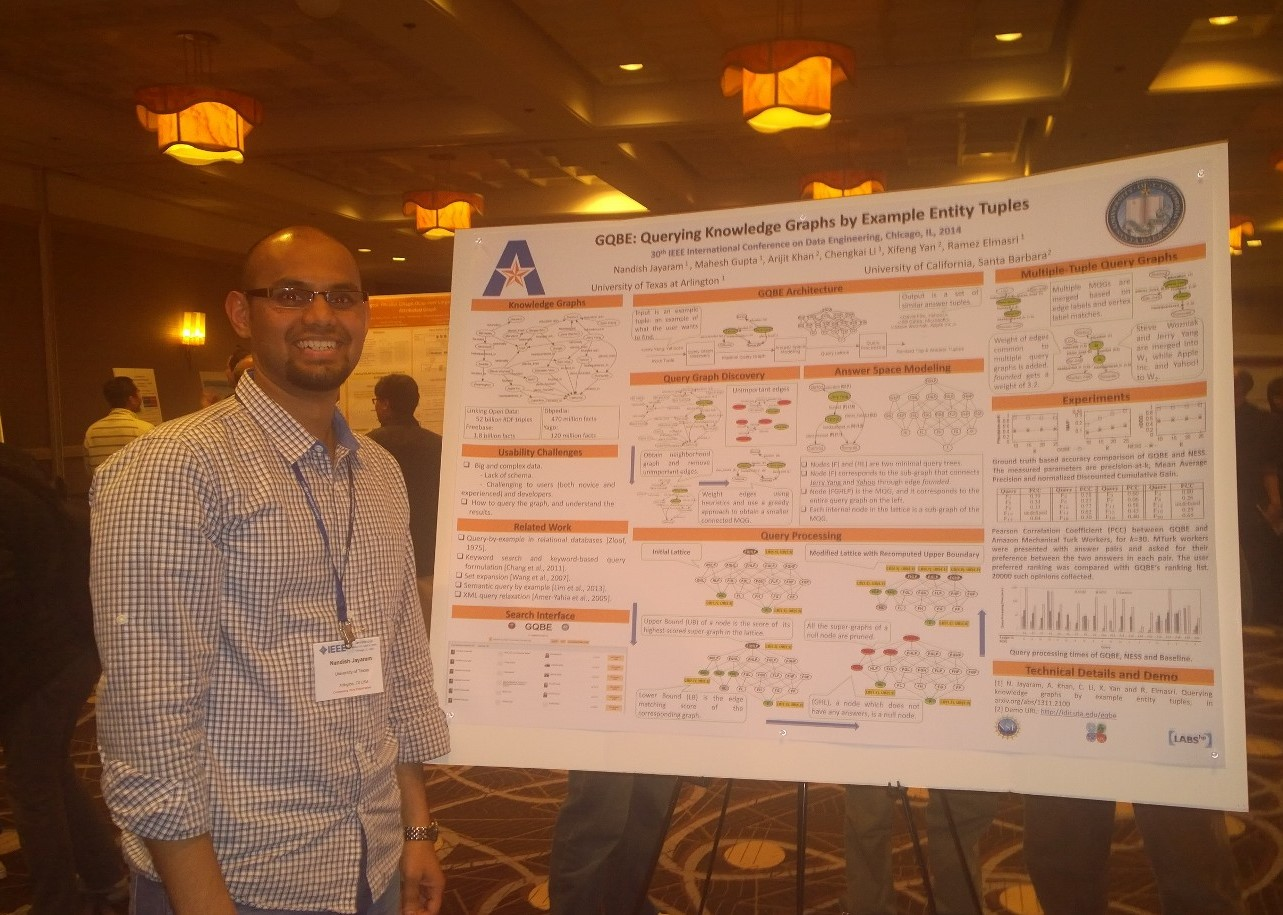 Nandish presenting GQBE demo at ICDE14 in Chicago (Apr. 2014)